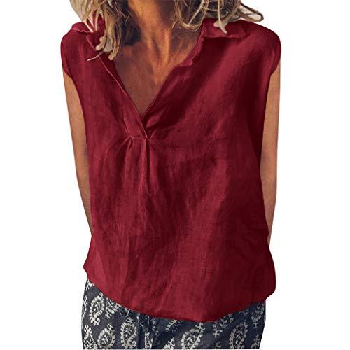 TOPKEAL Top Damen Lose ärmellose Tägliche Feste Tägliche Freizeithemd-Blusen-Leinenoberteile Bluse Shirt Mode Oberteile Tweety Fleece