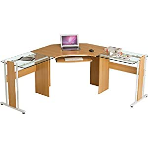 Large Corner Computer Desk Office Table With Glass Wings For Home Gamers Students Work Oak