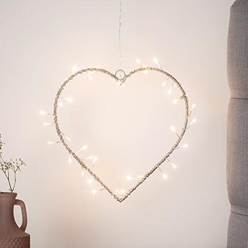 40er LED Lichterherz Metall Herz warmweiß strombetrieben Lights4fun