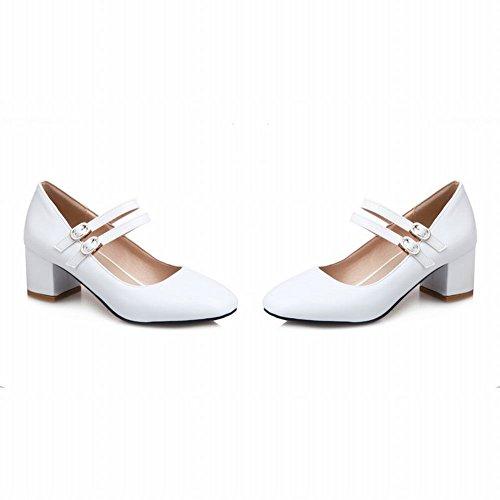 Mee Shoes Damen chunky heels vierkant Schnalle Pumps Weiß