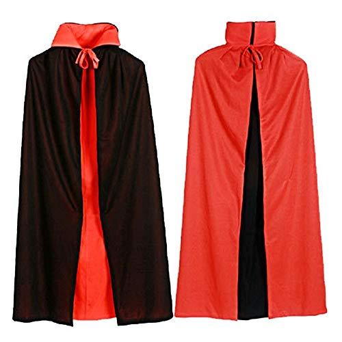Makwes 1 STK. Erwachsene Tod Umhang, Teufel Kostüm Samt Cape, Cosplay Kleidung für Halloween und Karneval Party, Schwarze + Rot Reversible Doppeldeck 140cm