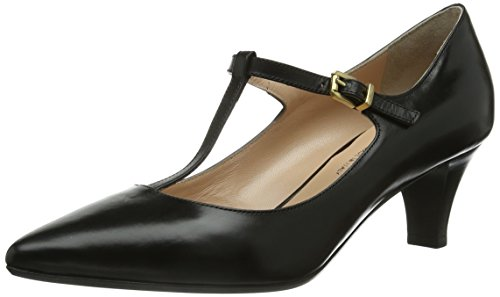 Evita Shoes Pumps geschlossen, Damen T-Spangen Pumps, Schwarz (Schwarz), 38 EU (5 Damen UK)