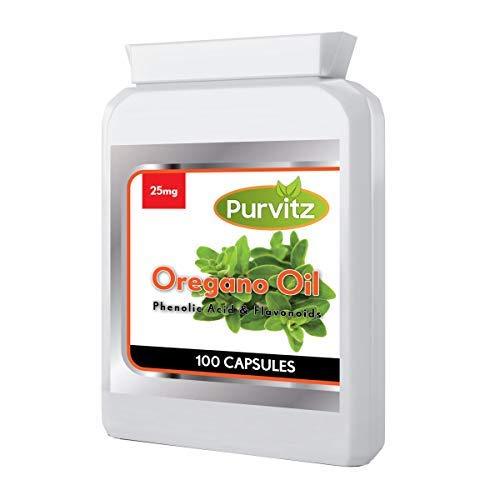 Oreganoöl 25mg 100 Kapseln Rapid Release Kapseln von Purvitz Hergestellt in Großbritannien Softgel