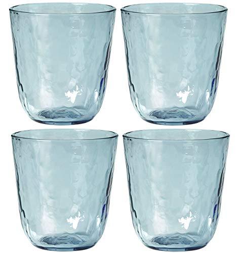broste Copenhagen Hammered Glas 25 cl 4 STK. blau Blau Glas