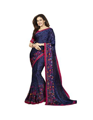 Vedant Georgette Saree (A9_Blue_Blue)