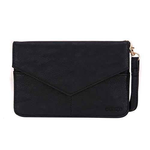 Conze da donna portafoglio tutto borsa con spallacci per Smart Phone per Kyocera Hydro Life/Elite Grigio grigio nero