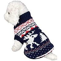 Keepwin Haustier Warme Rollkragen Strickjacke, Hundekatze Winter Weihnachtsmuster Pullover Mantel