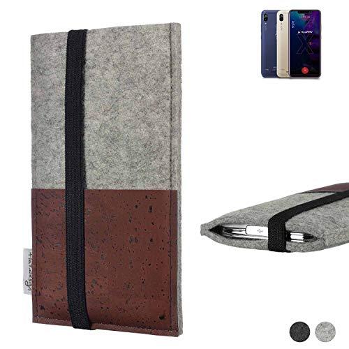 flat.design Handy Hülle Sintra für Allview Soul X5 Style Handytasche Filz Tasche Schutz Kartenfach Case braun Kork