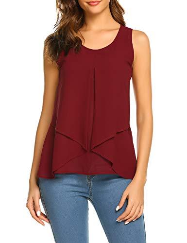 Beyove Damen Ärmellose Bluse Chiffon V-Ausschnitt Elegant Weste Top Hemdbluse Doppelschicht Sommer Loose fit T Shirt (XL, B+Weinrot)