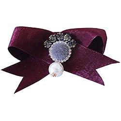 Nowbetter - Broche para Mujer, diseño de Lazo, con Incrustaciones de Perlas de Cristal, Rojo, 5 * 8cm