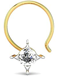 Candere By Kalyan Jewellers 18k (750) Yellow Gold and Diamond Upendra Nose Pin