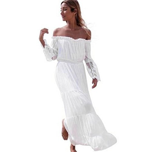 Kleider Damen Dasongff Frauen Kleider Reizvolle Spitzen nähen Trägerlose Strandkleid Elegant Sommerkleid Schulter Langarm Kleider Long Dress (S, Weiß) (Lace Striped Top)