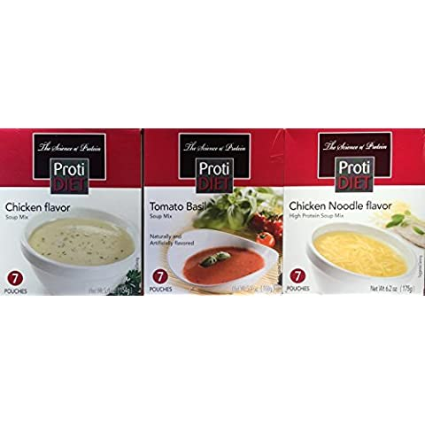 Protidiet Variety Pack Soup Mix - Creamy Chicken, Tomato, Chicken Noodle 21 Servings (Chicken Flavor) by Protidiet