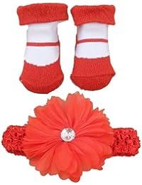 Baby Girls Red & White 2 Piece Gift Set Incs Daisy Headband & Red Shoe Design Socks- 0-6 Months