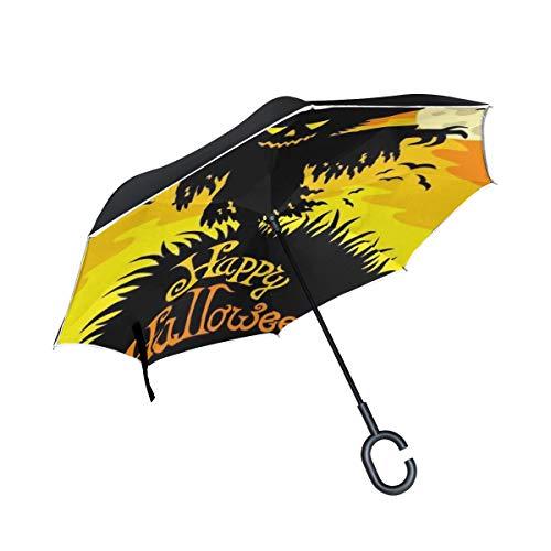 Halloween erschrockener Mond Vogelscheuche Doppelschicht die Anti Uv Schutz wasserdicht winddichtes gerades Auto umgekehrtes umgekehrtes Regenschirm Stand mit C förmigem Griff für den Auto Regen (Hut Kind Vogelscheuche)