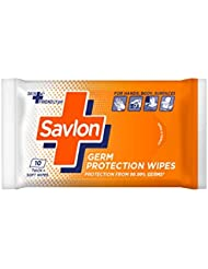Savlon Germ Protection Wet Wipes - 10 Wipes | Multi Purpose | Fights Germs on Hands, Body and Surfaces | Easy to Carry | Use at home, office, in car and out of home
