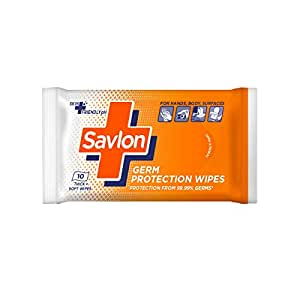 Savlon Germ Protection Wet Wipes - 10 Wipes   Multi Purpose   Fights Germs on Hands, Body and Surfaces   Easy to Carry   Use at home, office, in car and out of home