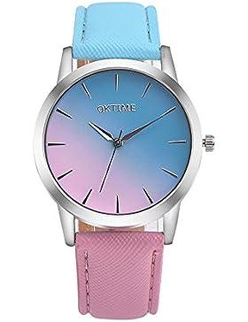 Watches Loveso Damen Frauen OKTIME Regenbogen Bunte Quarz Armbanduhr (A)