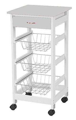Küchenwagen Servierwagen Küchenrollwagen Küchentrolley Rollwagen Schublade (Grau)