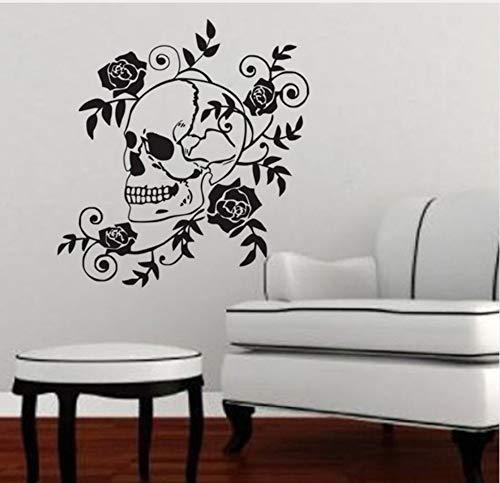 Mrlwy Pegatinas de pared de calavera peligrosa Vinilos de flores...