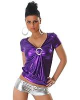 Top Shirt T-Shirt Leder-Optik Wet-Look Einheitsgröße 32,34,36,38 - verschiedene Farben