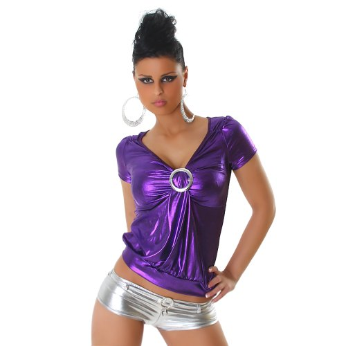 Top Damen Sommer Shirt Oberteil T-Shirt Leder-Optik Wet-Look 32 34 36 38 Lila