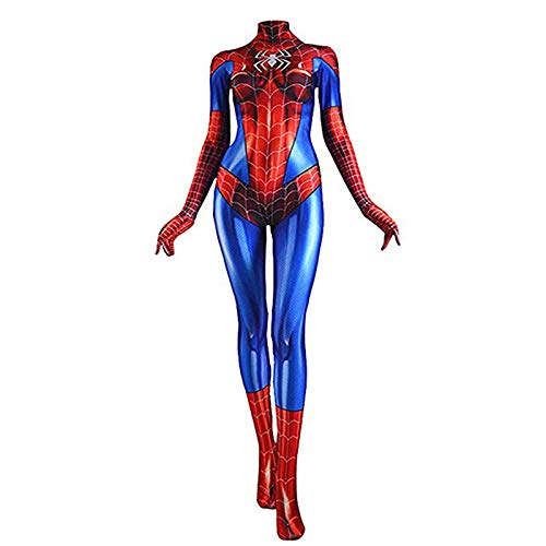 Superhelden Kostüm Einfach Weibliche - WEDSGTV Einfach Spiderman Kostüm Mnnlich Weiblich Superheld Spandex Suit Realistische Comics Halloween Cosplay Kostüm Cartoon Siamese Strumpfhosen Clothing Avengers Stage Show,Adult-XXL