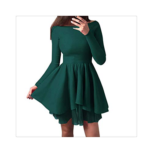 Dress Women Party Nigh Black Solid Party Mini Dress Long Sleeve Off Shoulder Sexy Dresses Sexy Elegant Women Clothes 2019 Green M -