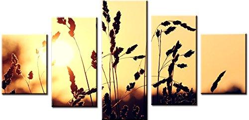 Wowdecor Bilder 5 Teilig Leinwand Malerei Drucke - Sonnenuntergang Weizen Giclee Home Wohnzimmer Schlafzimmer Modern Wand Bild Deko, Poster Geschenk gedruckt - Ungerahmt (klein)