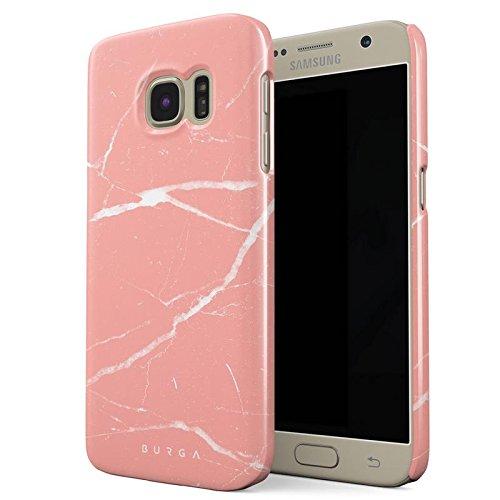 Samsung Galaxy S7 Hülle, BURGA Pfirsich Marmor Pink Rosa Licht Farbig Bunt Marble Dünn, Robuste Rückschale aus Kunststoff Für Samsung Galaxy S7 Handyhülle Schutz Case Cover (Coral Farbige Taste)