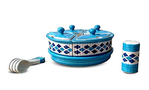 CROCKTO Ceramic Pickle/Chutney Jar Set (4 Jars with Lid, 4 Spoons, 1 Tray, 1 Salt/Spice Shaker) Dining Table Storage Container for Chutney, Pickels Spices and an Ideal Gift for Family