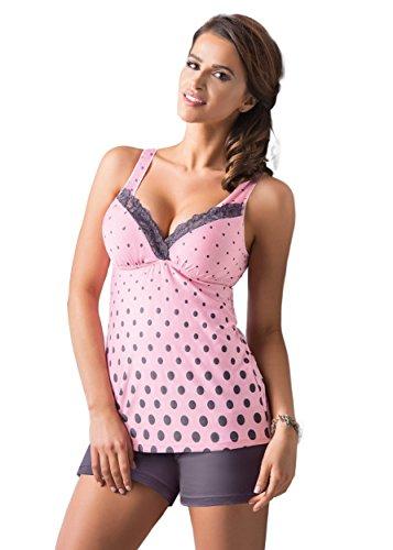 Donna wunderschönes und hochwertiges Nachtwäsche-Set aus niedlichem Viskose-Hemdchen und koketten Shorts (XL (42), rosa/dunkelgrau mit V-Ausschnitt) -