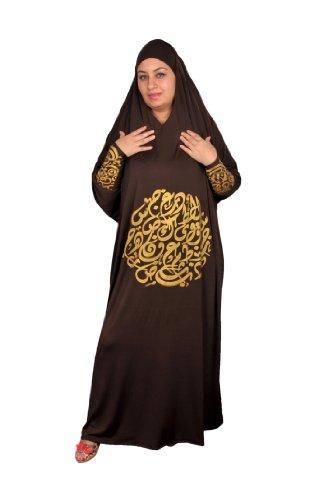 Isdal Abaya Gebetskleid mit arabischer Kalligrafie in goldfarbe Islamische Kleidung , Farbe: braun...