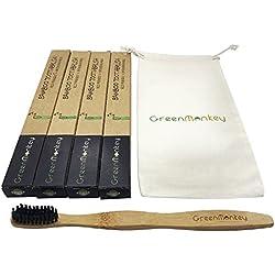 Cepillo de dientes de bambú-natural orgánico de madera ecológico amistoso 100% biodegradable cepillo de dientes reciclable mejora natural blanqueamiento dental-medio carbón activado cerdas-respetuosos del medio ambiente 100% BPA libre de uso para niños/adultos/familia/Vegan (x4 Pack & Bolsa de viaje)