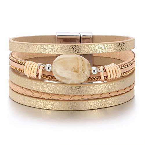 MHOOOA Women Bohemian Bracelets Vintage Natural Stone Multi-Layer Strands Woven Handmade Wrap Bracelets Heart Charm Bangle -