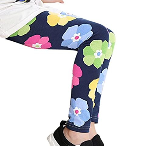 BURFLY Kids Girls Floral Print Classic Tight Pants Leggings 2-13