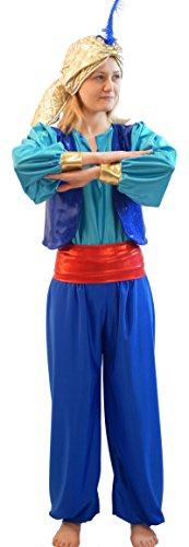 CL COSTUMES Welt Buch Tag-Panto-Aladdin BLAU Genie of DIE Lampe Sultan Hut mit Feder Maskenkostüm - Alle Herren Größen - Wie abgebildet, Men: Large