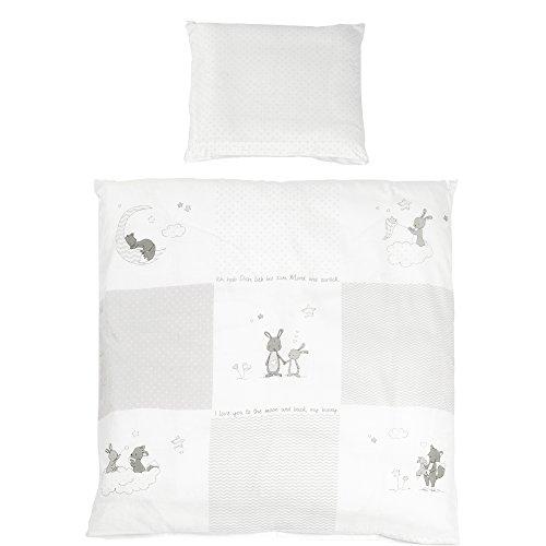roba Wiegenbettwäsche 2-tlg, Wiegenset Kollektion 'Fox & Bunny', Baby Bettwäsche 80x80 (Decke & Kissen), 100% Baumwolle