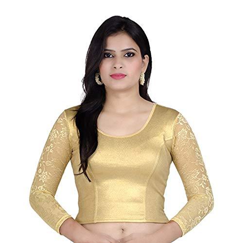 Fressia Fabrics Women'S Cotton Readymade Blouse (Gold_Free Size)