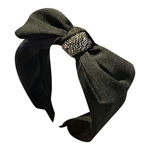 CUTUDE 1PC Vintage Stirnband Haarband Headband Kopf Warp aus Stoff oder Satin mit Knot koreanisches Haarband für Damen (Schwarz, Uniform code)