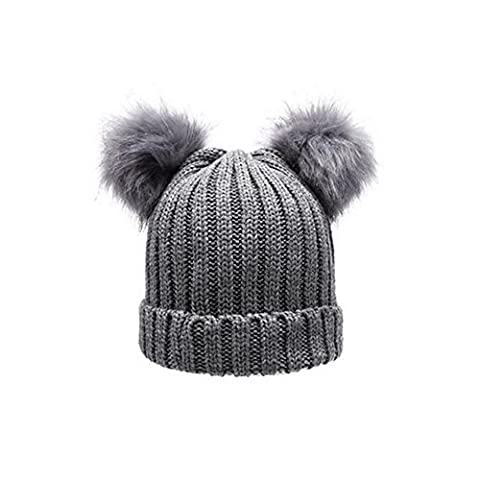 pannow Winter Warm Crochet Knit Hat Beanie Cap, Infant Newborn Baby Kinder Mädchen Jungen Wolle Bundhaube Kapuze Schal Kappen Bär Form Double Ball Hüte, grau, (Newborn Baby-kappe)