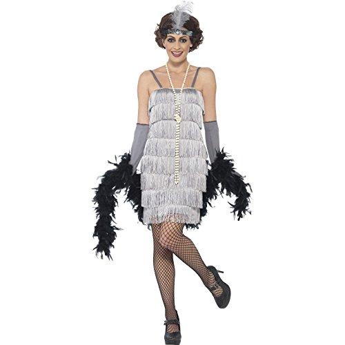 Smiffys 44671X1 - Damen Flapper Kostüm, Größe: 48-50, silber
