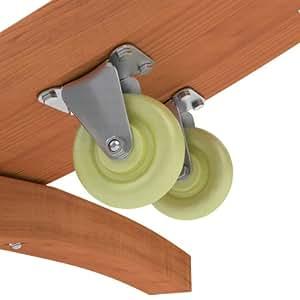 Transportrollen Set für Hängemattengestelle aus Holz | 2 Räder kugelgelagert | belastbar 120 kg | erleichtern das Verschieben des Hängemattenständers