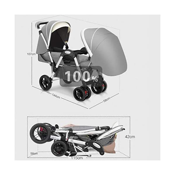 Twin Baby Stroller, 2 Baby Umbrella Caravans, Sit Lie Down, Light and Easy to Fold, Stroller Hjd-Strollers  7