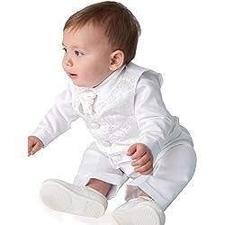 Vivaki para Bautizo de Atuendo Bañador para bebé de Color Blanco