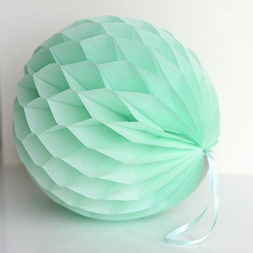 decopompoms mint Tissue Papier, Kugel, mit Waben, grün, 30 cm