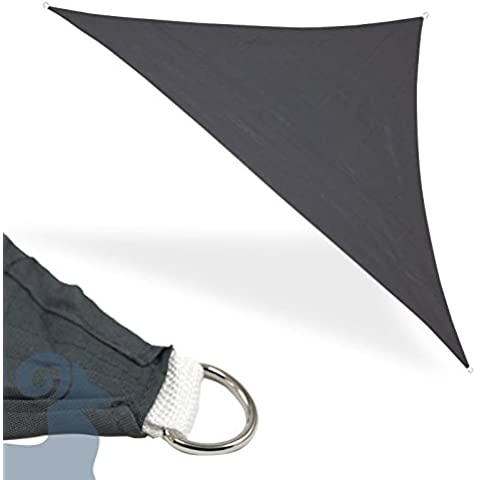 Vela parasole triangolare 3,6x 3,6x 3,6metri grigio sole pioggia, frangivista,