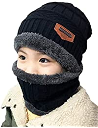 EDOTON Bambini Cappello a Maglia Lana Cappellino con Sciarpa Set 2pcs Sci  Outdoor Sport Invernale Natale 5247757850a3