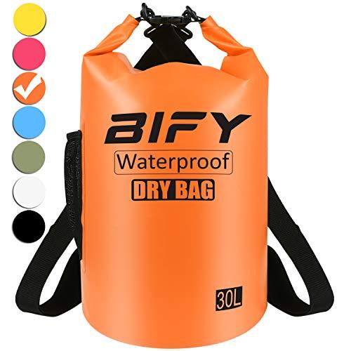 15L/20L/25L/30L/40L Leicht Wasserfester Rucksack/Wasserdichte Tasche/Trockensack mit lang Verstellbarer Schultergurt für Boot und Kajak Wassersport Treiben (Orange, 30L) ()