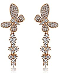 YELLOW CHIMES Butterfly Gold Plated High Grade CZ Earrings For Women And Girls